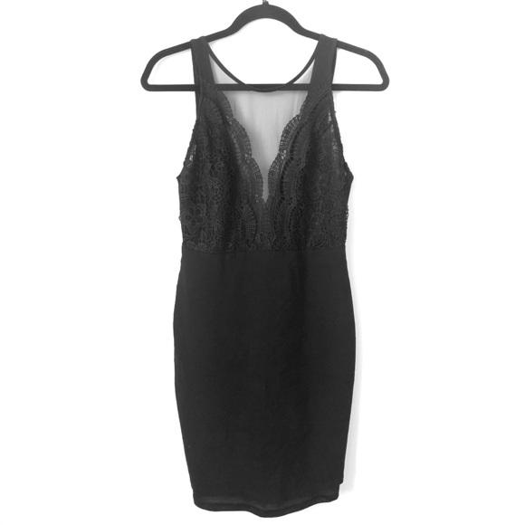 Lulus - Black Lace Bodycon Mini Dress